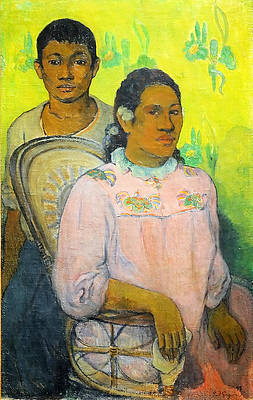 Tahitian Woman and Boy Print by Paul Gauguin