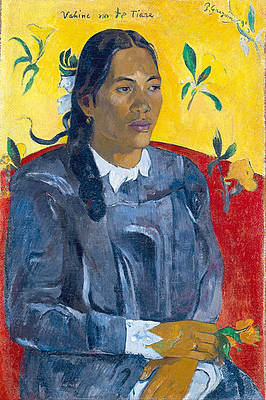Tahitian Woman with a Flower Print by Paul Gauguin