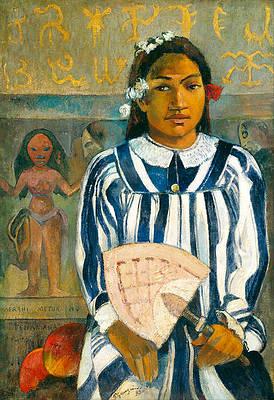 The Ancestors of Tehamana OR Tehamana Has Many Parents.Merahi metua no Tehamana. Print by Paul Gauguin