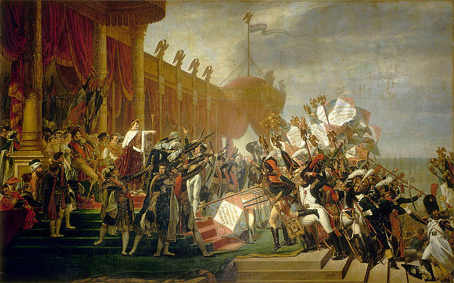 The Army takes an Oath to the Emperor after the Distribution of Eagles Print by Jacques-Louis David