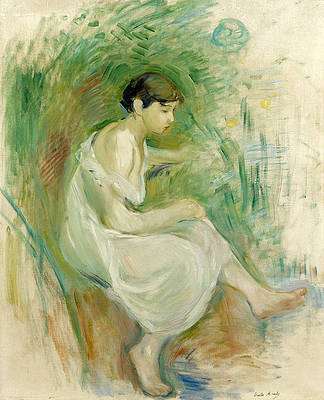 The Bather in Chemise Print by Berthe Morisot