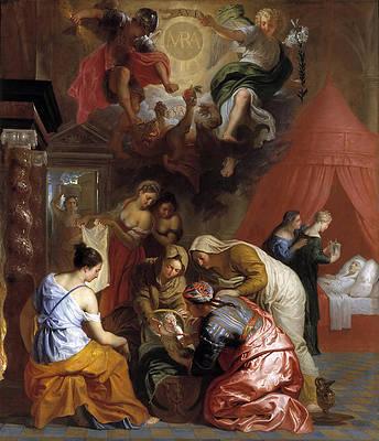 The Birth of the Virgin Print by Erasmus Quellinus II