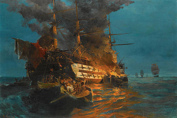 The burning of a Turkish frigate Print by Konstantinos Volanakis