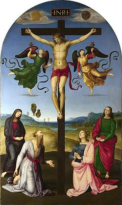 The Crucified Christ with the Virgin Mary Saints and Angels .The Mond Crucifixion Print by Raphael