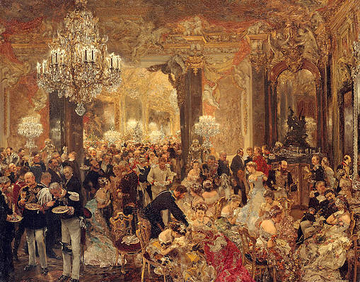 The Dinner at the Ball Print by Adolph von Menzel