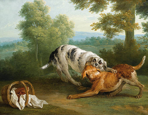 The dog carring his dinner to his master Print by Jean-Baptiste Oudry