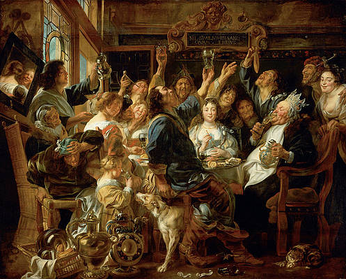 The Feast of the Bean King Print by Jacob Jordaens