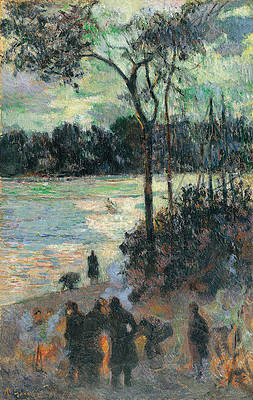 The Fire at the River Bank Print by Paul Gauguin