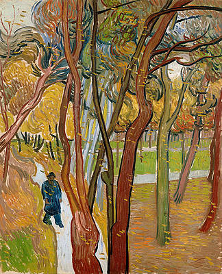 The garden of Saint Paul's Hospital. The fall of the leaves Print by Vincent van Gogh