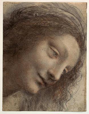 The Head of the Virgin in Three-Quarter View Facing Right Print by Leonardo Da Vinci