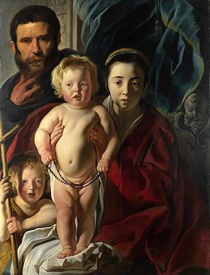 The Holy Family and Saint John the Baptist Print by Jacob Jordaens