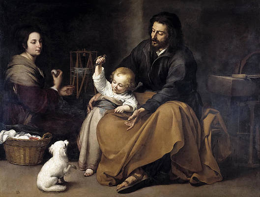 The Holy Family with a Little Bird Print by Bartolome Esteban Murillo