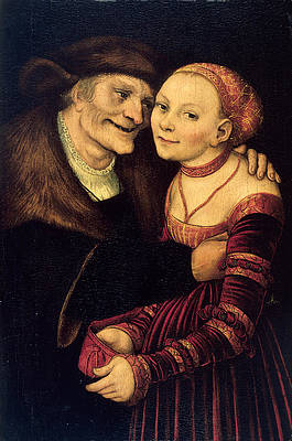The Ill-Matched Couple Print by Lucas Cranach the Elder