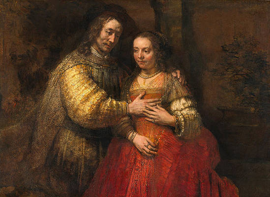 The Jewish bride Print by Rembrandt