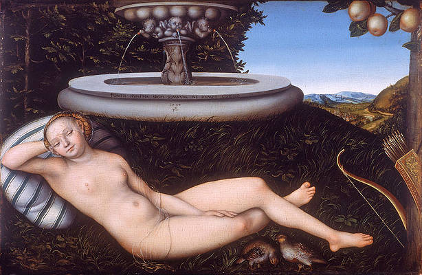 The Nymph of the Fountain Print by Lucas Cranach the Elder