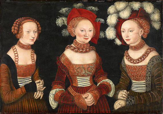 The Princesses Sibylla Emilia and Sidonia of Saxony Print by Lucas Cranach the Elder