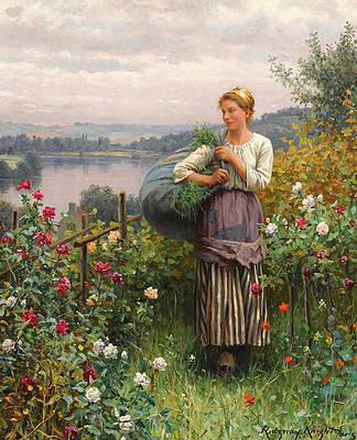 The Rose Garden Print by Daniel Ridgway Knight