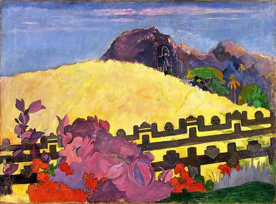 The Sacred Mountain. Parahi Te Marae Print by Paul Gauguin