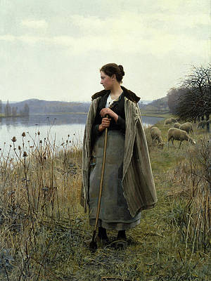 The Shepherdess of Rolleboise Print by Daniel Ridgway Knight