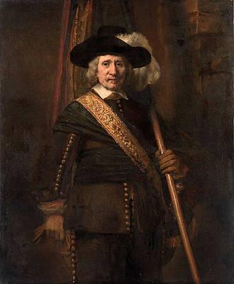 The Standard Bearer. Floris Soop Print by Rembrandt