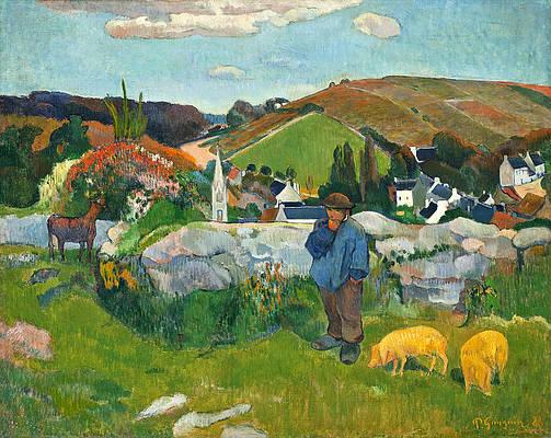 The Swineherd Print by Paul Gauguin