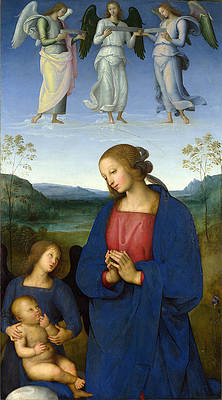 The Virgin and Child with an Angel Print by Pietro Perugino
