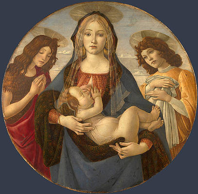 The Virgin and Child with Saint John and an Angel Print by Workshop of Sandro Botticelli
