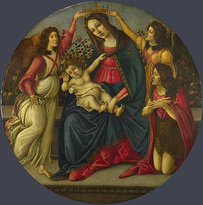 The Virgin and Child with Saint John and Two Angels Print by Workshop of Sandro Botticelli