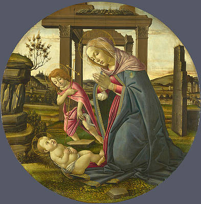 The Virgin and Child with Saint John the Baptist Print by Workshop of Sandro Botticelli