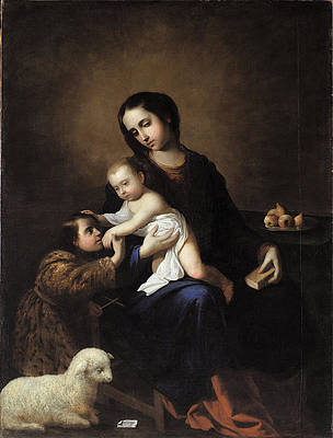 The Virgin and Child with the Infant St John the Baptist Print by Francisco de Zurbaran