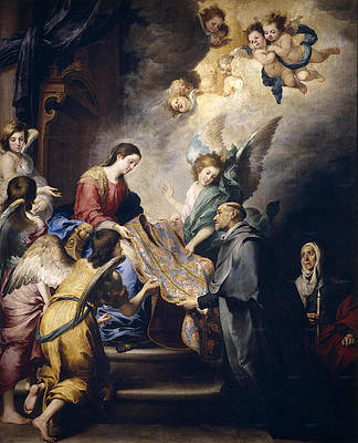 The Virgin giving the Chasuble to Saint Ildefonsus Print by Bartolome Esteban Murillo