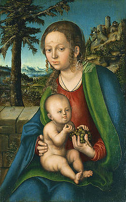 The Virgin with Child with a Bunch Grapes Print by Lucas Cranach the Elder