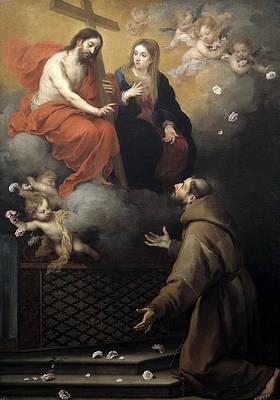 The Vision to St. Francis at Porziuncola Print by Bartolome Esteban Murillo