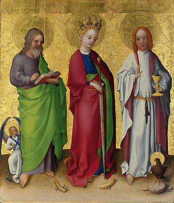 Three Saints Print by Stephan Lochner