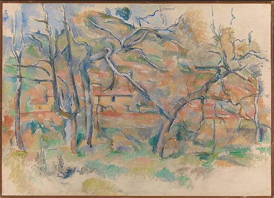 Trees and houses Provence Print by Paul Cezanne
