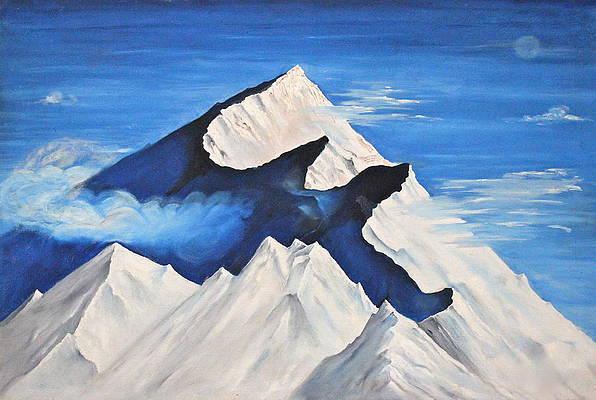 Trishul Mountains Painting By Yatendra Amar