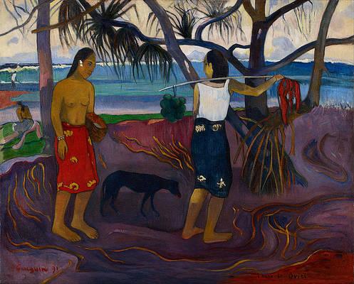 Under the Pandanus II Print by Paul Gauguin