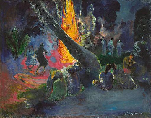 Upa Upa.The Fire Dance Print by Paul Gauguin