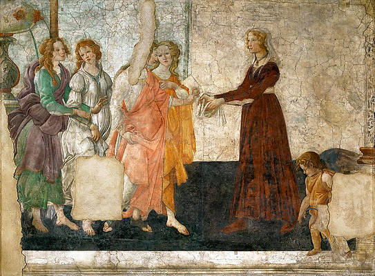 Venus and the Three Graces offering presents to a young girl Print by Sandro Botticelli