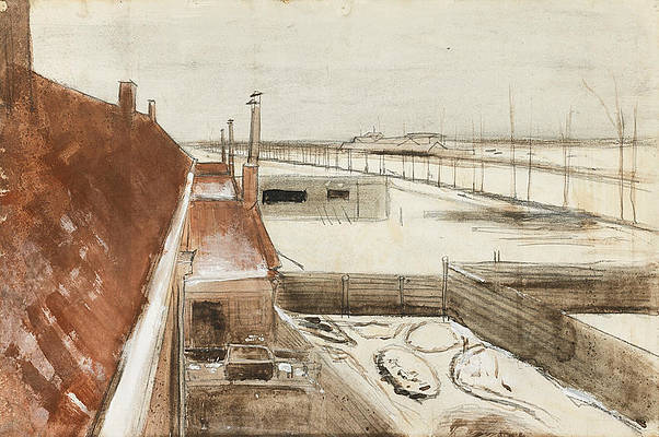 View from the window of Vincent's studio in winter Print by Vincent van Gogh