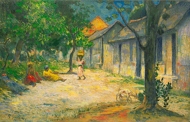 Village in Martinique.Femmes et Chevre dans le village Print by Paul Gauguin