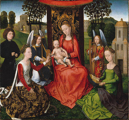 Virgin and Child with Saints Catherine of Alexandria and Barbara Print by Hans Memling