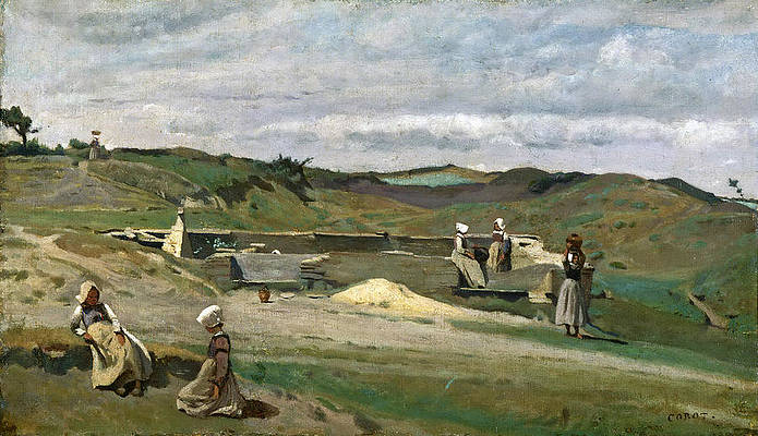Wall. Cotes-du-Nord Brittany Print by Jean-Baptiste-Camille Corot