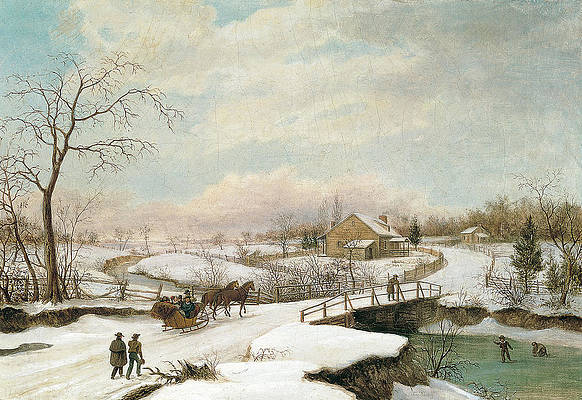 Winter landscape in Philadelphia Print by Thomas Birch