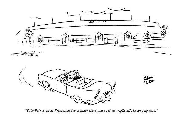 Graduation Cap Drawing - Yale-princeton At Princeton! No Wonder by Richard Decker