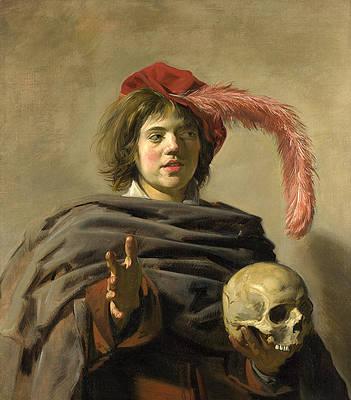Young Man holding a Skull. Vanitas Print by Frans Hals
