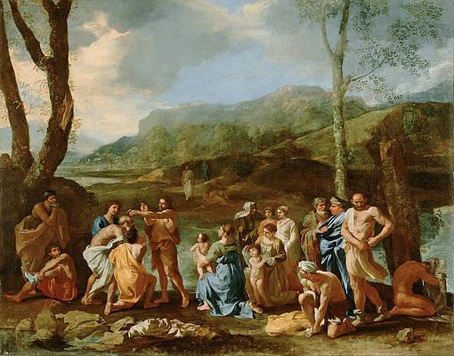 Saint John Baptizing in the River Jordan Print by Nicolas Poussin