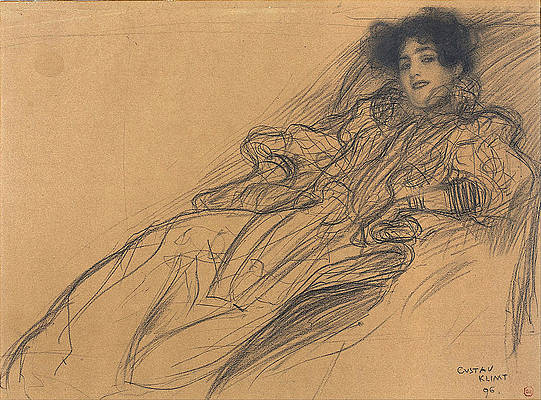 Young Woman in an Armchair Print by Gustav Klimt