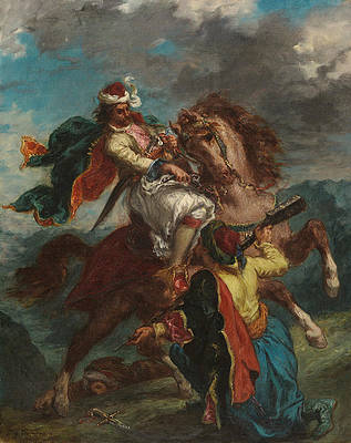 A Turk Surrenders to a Greek Horseman Print by Eugene Delacroix