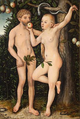 Adam and Eve Print by Lucas Cranach the Elder